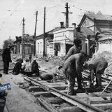 Краснодар. Май 1934 года. Улица Пролетарская у Трамвайного управления, вид на запад