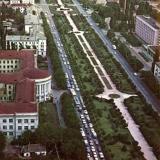 Краснодар. Первая пробка! Вид на север от пересечения улиц Красной и Хакурате, 1976 год