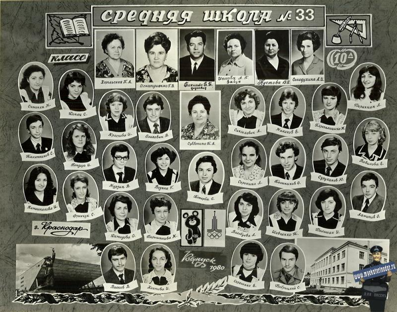 "1980 год. Краснодарская средняя школа № 33, 10 ""А"" класс"