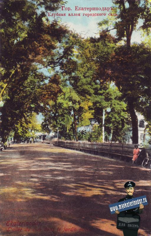 Екатеринодар. Клубная аллея городского сада, до 1917 года