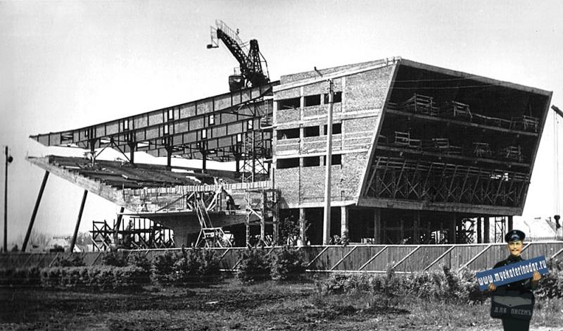 """Краснодар. Строительство кинотеатра """"Аврора"""", 1966 год."""