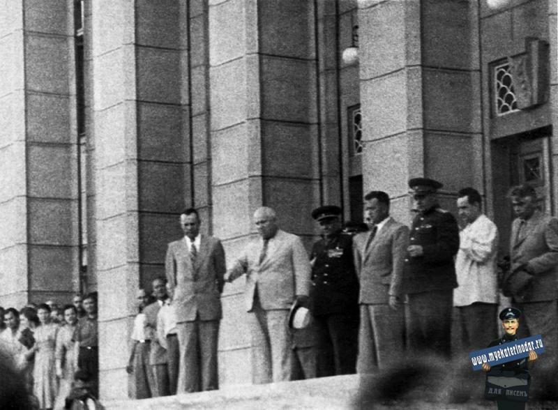 Краснодар. Н.С. Хрущёв на ступенях Крайкома КПСС, 1960 год