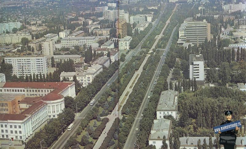 Краснодар. Улица Красная, вид с вертолёта