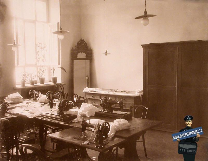 Екатеринодар. Кубанский мариинский женский институт. 25.10.1913 год. Вид части швейной мастерской