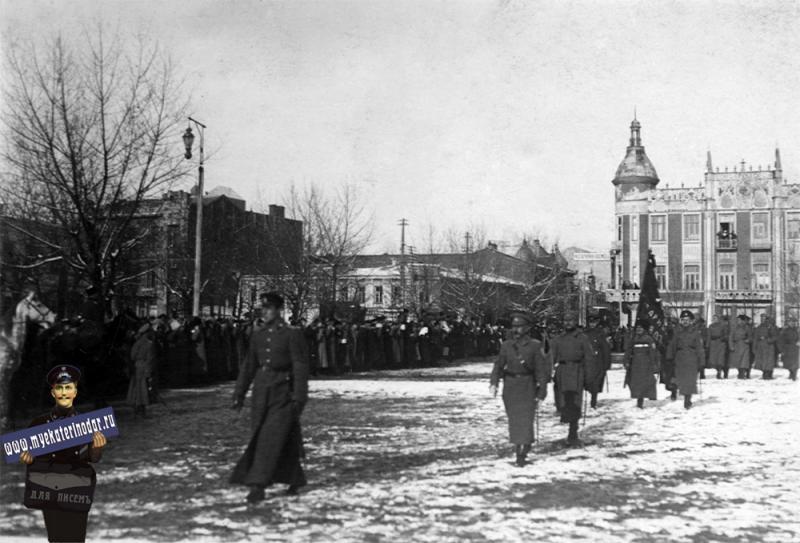 """Екатеринодар. Парад """"Корниловских полков"""" в Екатеринодаре, 21 января 1920 год."""