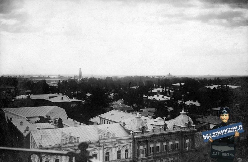 Екатеринодар. Вид с пожарной каланчи на юго-восточную часть города. 1910 год.