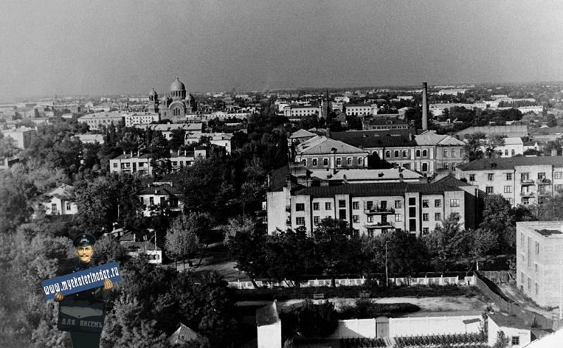 Краснодар. Вид на город из Горпака, с парашютной вышки, 1959 год