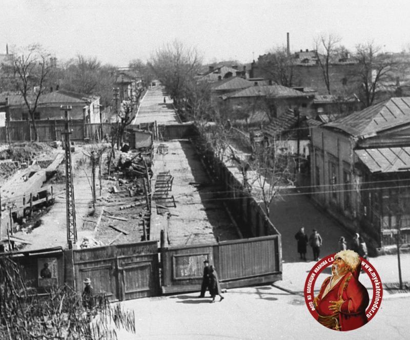 Краснодар. Красная, перекресток с Комсомольской, вид на восток, 1954 год