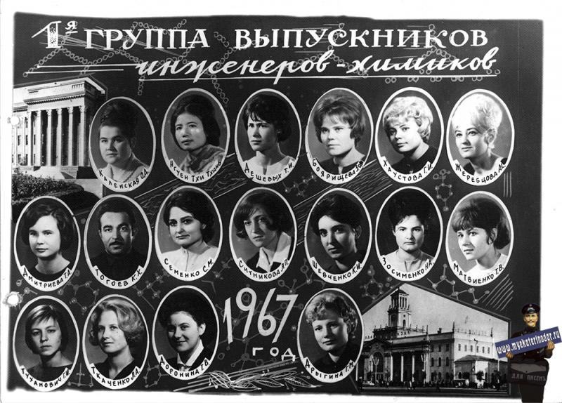 Краснодар. КПИ. 1-я группа выпускников инженеров-химиков. Фото 1. 1967 год.