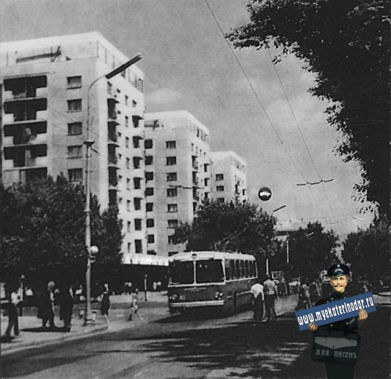 Краснодар. На перекрёстке улиц Красной и Мира. 1970 год.