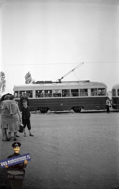 """Краснодар. Остановка трамвая """"Выставка"""", 1958 год."""