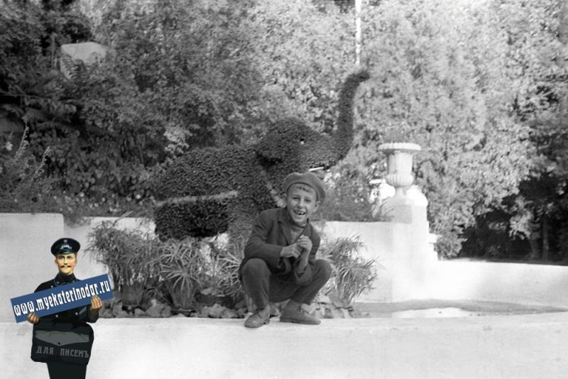 """Краснодар. Парк Горького, у фонтана """"цветочный слоник"""". 1 октября 1967 год."""