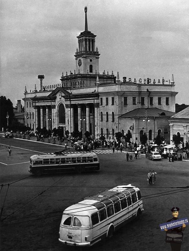 Краснодар. Привокзальная площадь, 1964 год. Фото Галушко О.И.  Вид 1