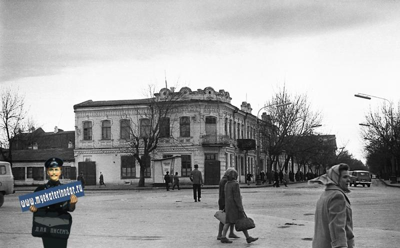 Краснодар. Угол улиц Красной и Буденного, вид на юг, 8 января 1967 год