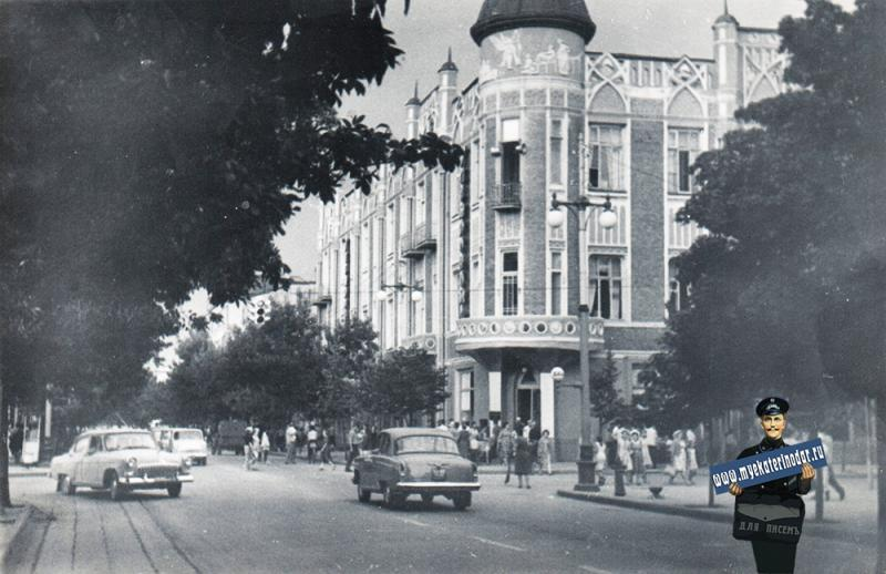 Краснодар. Угол улиц Красной и Ворошилова, вид на север, 1964 год