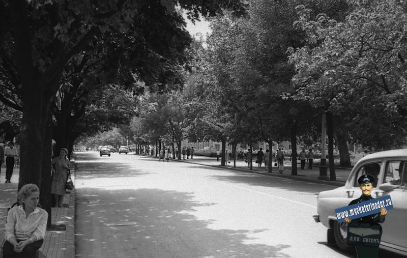 Краснодар. Улица Красная, вид на юг от перекрёстка с Ворошилова.