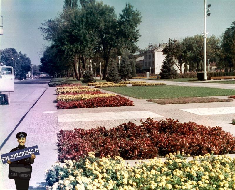 Краснодар, Сквер на улице Тельмана, вид на восток, 1977 год