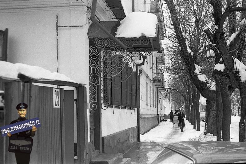 Краснодар. Зима на ул. Орджоникидзе. 1980 год