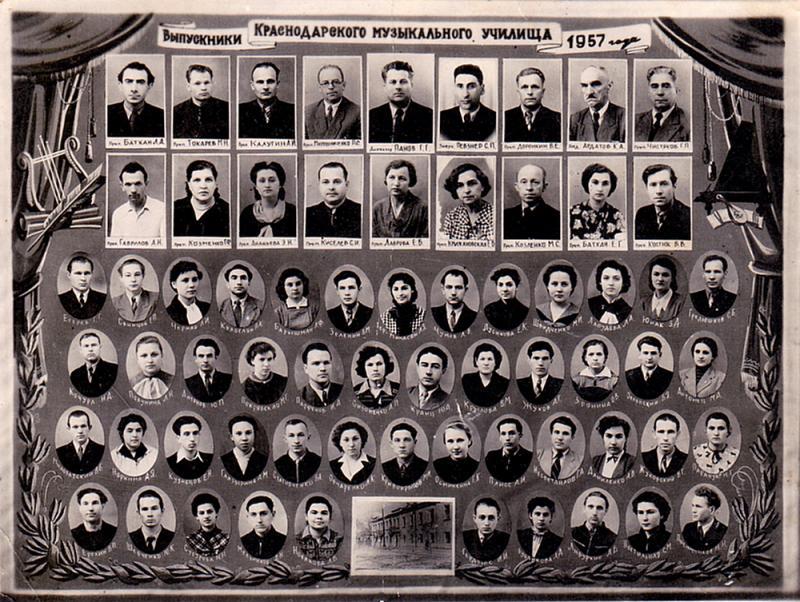 Краснодар. Краснодарское музыкальное училище, 1957 год.