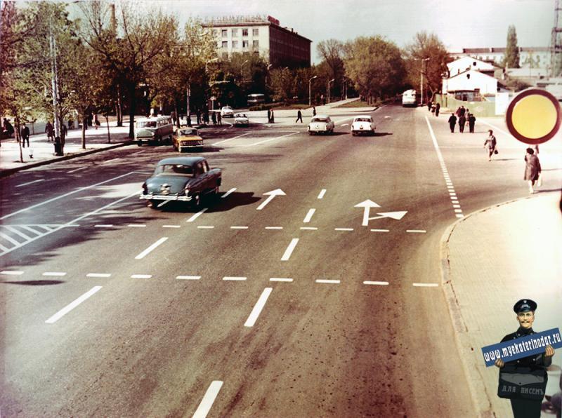 Краснодар. Улица Красная от ул. Длинной до ул. Будённого. Март 1971 года.