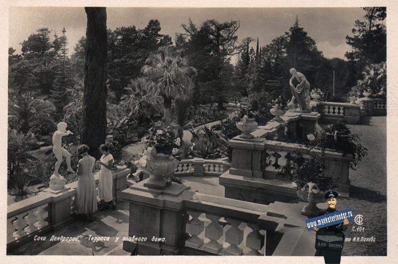 Сочи. Дендрарий. Терраса у главного дома, 1938 год