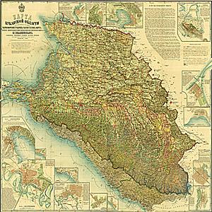 1902 год. Н.С. Иваненков - Карта Кубанской области и близких к ней Черноморской губернии и части Сухумского округа, 1902 год